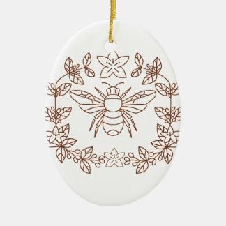 Adorno De Cerámica La flor del café del abejorro sale del icono