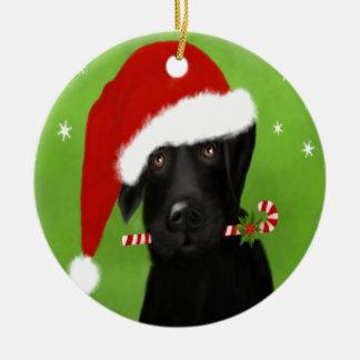 Adorno De Cerámica Labrador negro - perro divertido del navidad