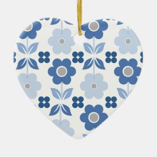 Adorno De Cerámica Las flores azules retras Dble-echaron a un lado