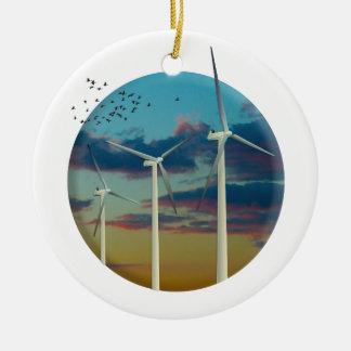 Adorno De Cerámica Las turbinas de viento pintaron el cielo