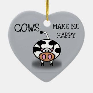 Adorno De Cerámica Las vacas me hacen feliz