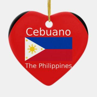 Adorno De Cerámica Lengua de Cebuano y bandera de Filipinas