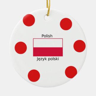 Adorno De Cerámica Lengua y diseño polacos de la bandera de Polonia