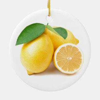 Adorno De Cerámica Limones amarillos brillantes y frescos