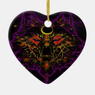 Adorno De Cerámica Lobo púrpura de neón mítico