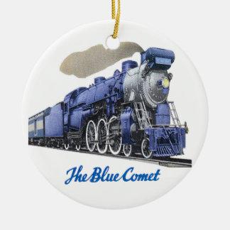 Adorno De Cerámica Locomotora de vapor azul del cometa