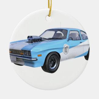 Adorno De Cerámica los años 70 azules y coche blanco del músculo