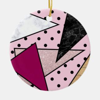 Adorno De Cerámica Madera color de rosa geométrica elegante del