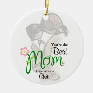 Adorno De Cerámica Madre y niño con la mamá y el texto florales del
