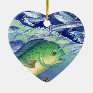 Adorno De Cerámica Mahi Mahi (pescado del delfín) que persigue el pez