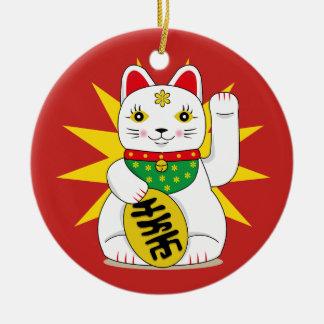 Adorno De Cerámica Maneki afortunado Neko que tienta el gato de la