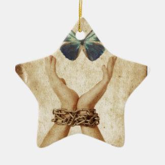 Adorno De Cerámica Mano encadenada con la mariposa que asoma arriba