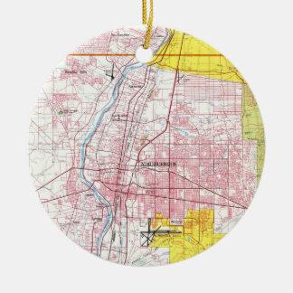 Adorno De Cerámica Mapa de Albuquerque New México (1987)