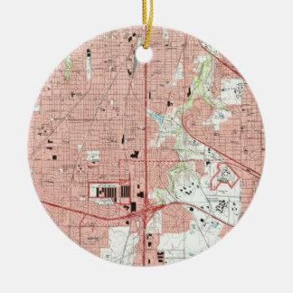 Adorno De Cerámica Mapa de Fort Worth Tejas (1995)