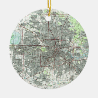 Adorno De Cerámica Mapa de Houston Tejas (1992)