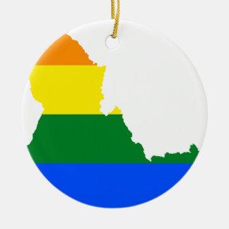 Adorno De Cerámica Mapa de la bandera de Idaho LGBT