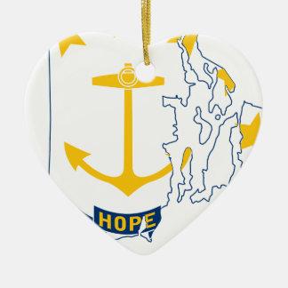 Adorno De Cerámica Mapa de la bandera de Rhode Island