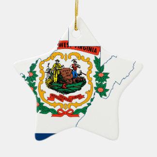 Adorno De Cerámica Mapa de la bandera de Virginia Occidental