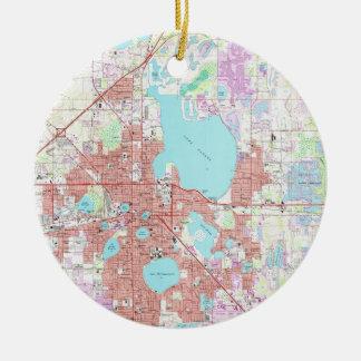 Adorno De Cerámica Mapa de Lakeland la Florida (1975)
