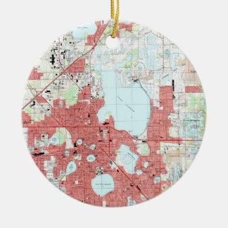 Adorno De Cerámica Mapa de Lakeland la Florida (1994)