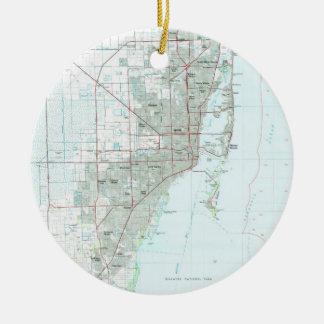 Adorno De Cerámica Mapa de Miami la Florida (1981)