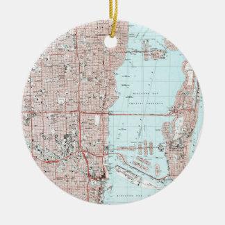 Adorno De Cerámica Mapa de Miami la Florida (1988)