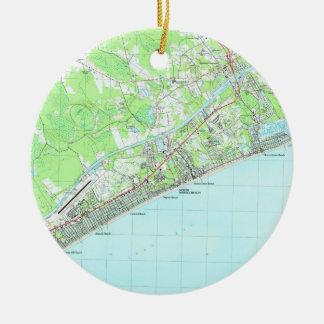 Adorno De Cerámica Mapa de Myrtle Beach del norte Carolina del Sur