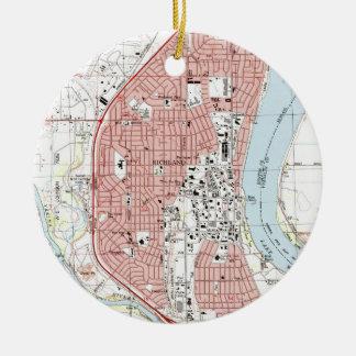 Adorno De Cerámica Mapa de Richland Washington (1992)