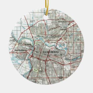 Adorno De Cerámica Mapa de Sacramento California (1994)