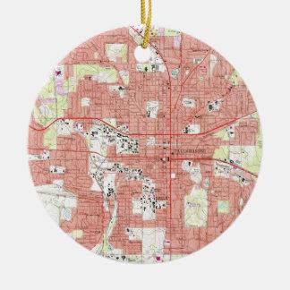 Adorno De Cerámica Mapa de Tallahassee la Florida (1970)