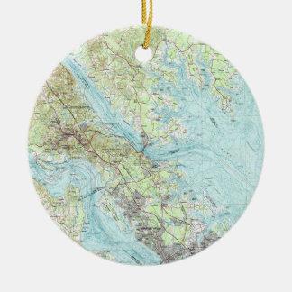 Adorno De Cerámica Mapa de Virginia de la marea (1984)
