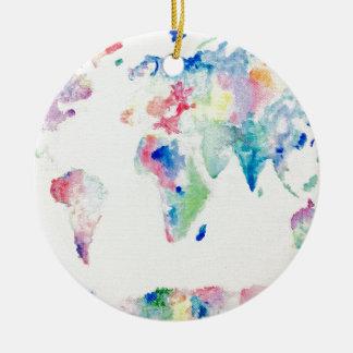 Adorno De Cerámica mapa del mundo del color de agua