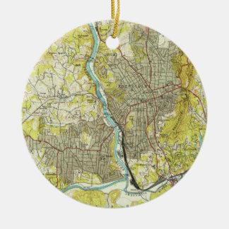 Adorno De Cerámica Mapa del vintage de Asheville Carolina del Norte