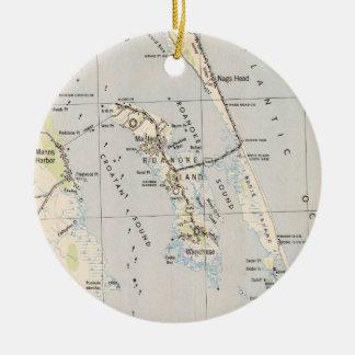 Adorno De Cerámica Mapa del vintage de la isla y de Outer Banks NC de