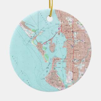Adorno De Cerámica Mapa del vintage de Sarasota la Florida (1973)