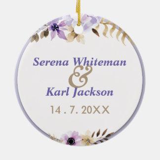 Adorno De Cerámica Marco floral dibujado mano púrpura violeta