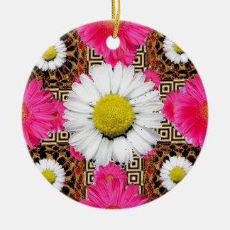 Adorno De Cerámica Margarita de Shasta y regalos rosados del Gerbera