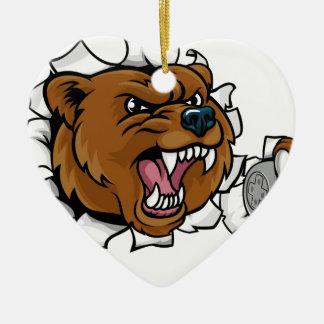 Adorno De Cerámica Mascota enojada de Esports del oso