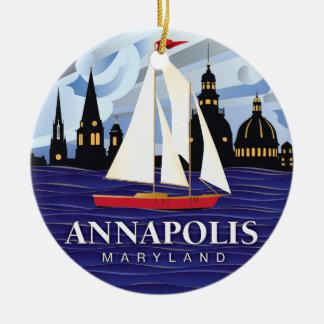 Adorno De Cerámica MD rojo Coastal de Annapolis del velero
