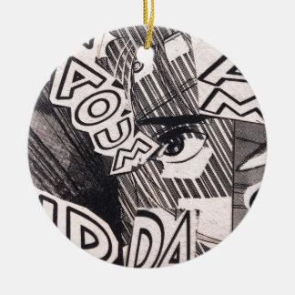 Adorno De Cerámica Modelo blanco y negro de los tebeos del collage