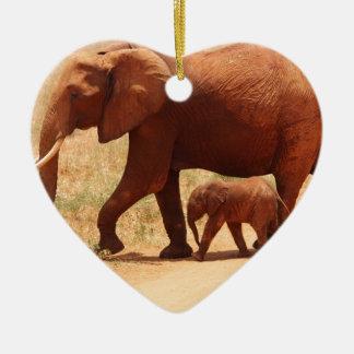 Adorno De Cerámica Momia y Cub del elefante