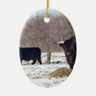 Adorno De Cerámica Montañeses escoceses negros en nieve del invierno