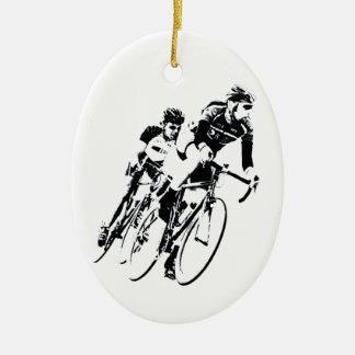 Adorno De Cerámica Monte en bicicleta a los corredores en la vuelta
