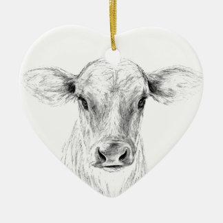 Adorno De Cerámica MOO una vaca joven del jersey