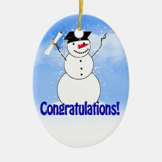 Adorno De Cerámica Muñeco de nieve de graduación con el diploma