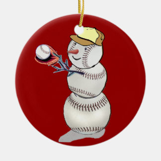 Adorno De Cerámica Muñeco de nieve del béisbol
