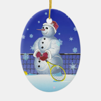 Adorno De Cerámica Muñeco de nieve del tenis, buenas fiestas