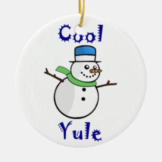 Adorno De Cerámica Muñeco de nieve fresco de Yule en sombrero de copa