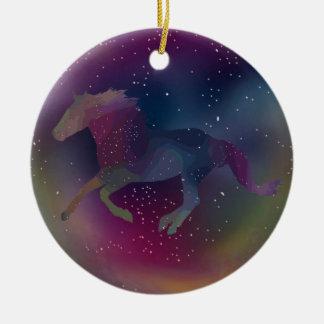 Adorno De Cerámica Mustango cósmico del arco iris