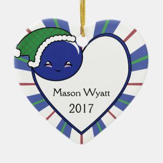 Adorno De Cerámica Navidad 2017 de la cesta del arándano de Kawaii